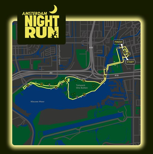 entertainment kaart Course | Amsterdam Night Run